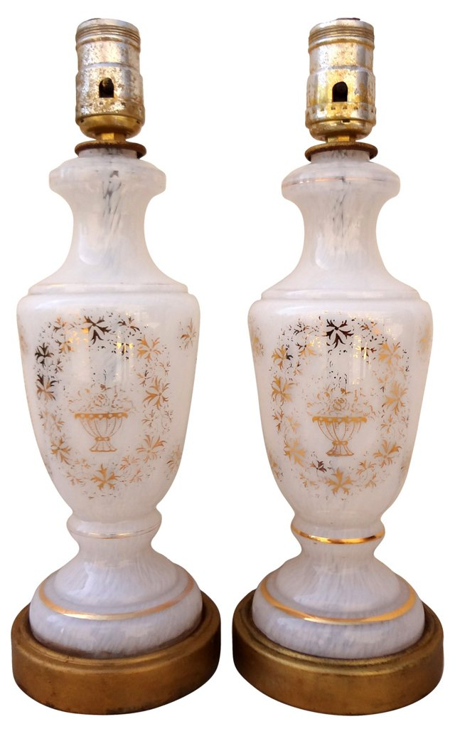 White & Gold Lamps, Pair