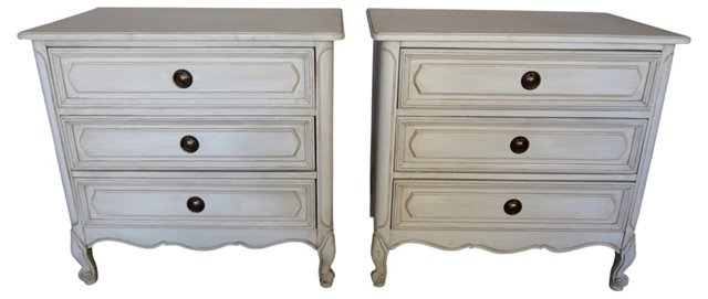Swedish 3-Drawer Nightstands, Pair