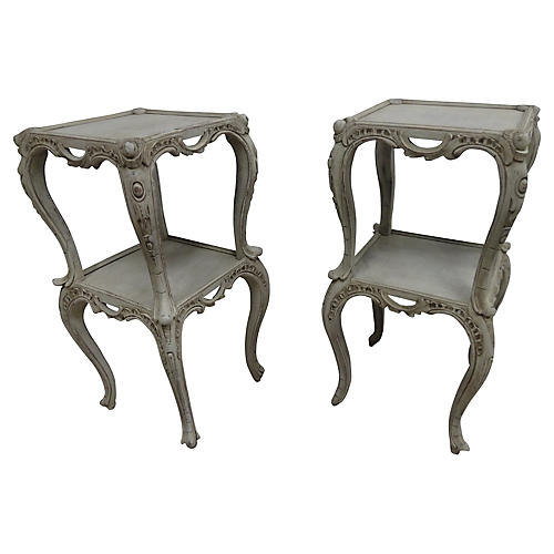 Swedish Rococo-Style Side Tables, S/2