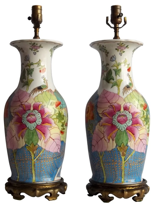 Tobacco Leaf Floral Lamps, Pair