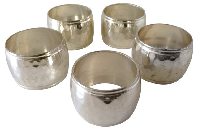 Hammered Silver Napkin Rings, S/5