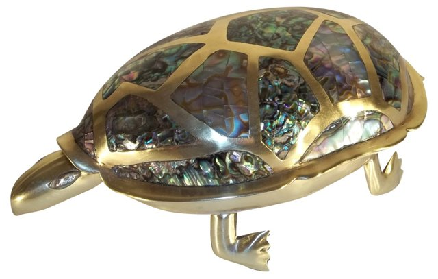 Brass & Abalone Turtle Box