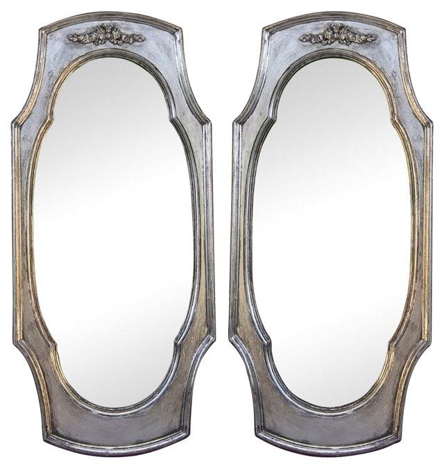 Silver  Mirrrors, Pair