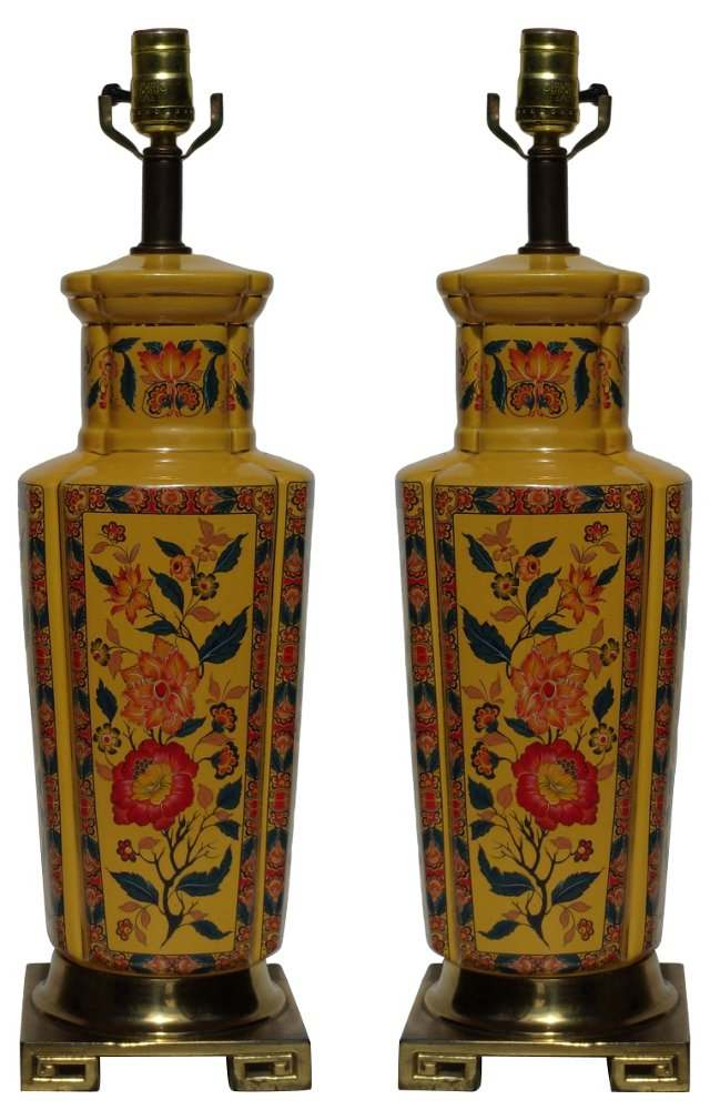 Japanese Floral Lamps, Pair