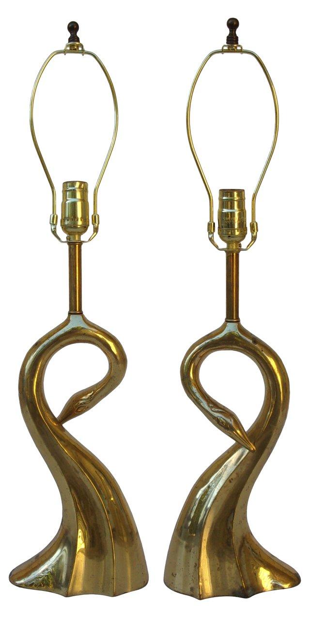 Brass Swan Lamps, Pair