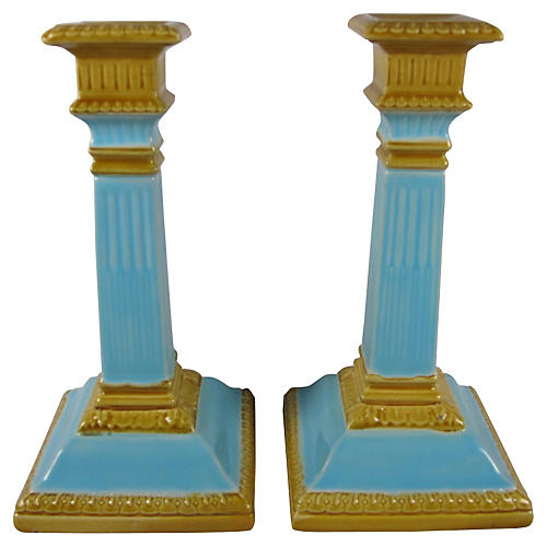 1890s Staffordshire Candlesticks, Pair