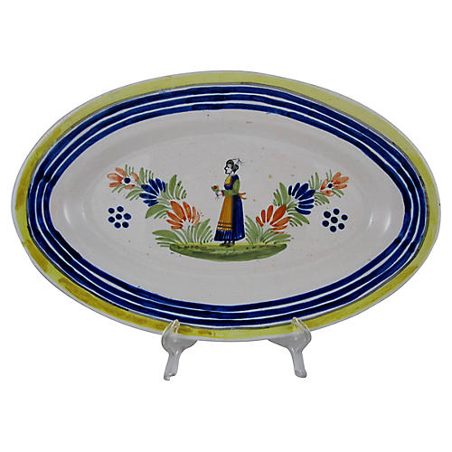 Quimper Oval Femme Breton Platter