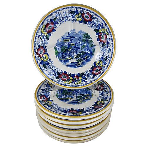 1860s Ironstone Dinner Plates, S/8