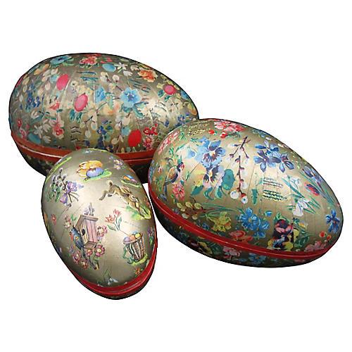 Papier-Mâché Holiday Egg Candy Boxes S/3