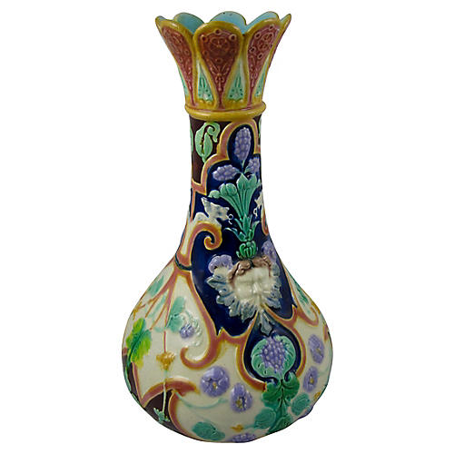 English Majolica Floral & Mask Vase
