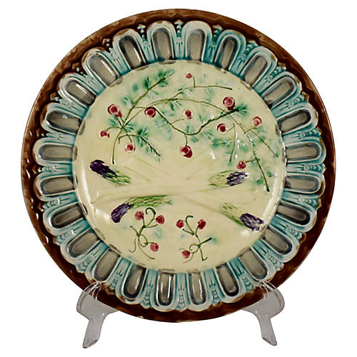 French Faience Asparagus Plate