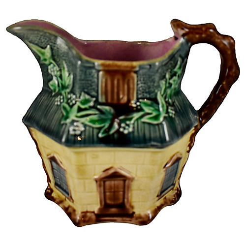 19th-C. English Majolica Cottage Pitcher