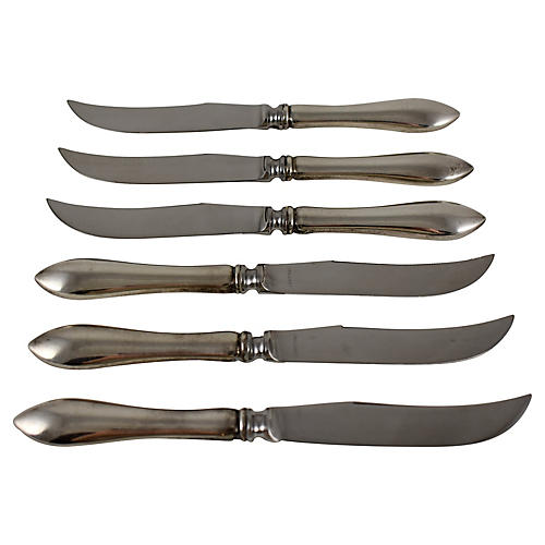 Sterling Fruit & Cheese Knives, S/6