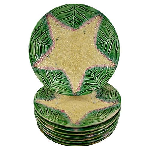 Etruscan Majolica Cauliflower Plates S/8