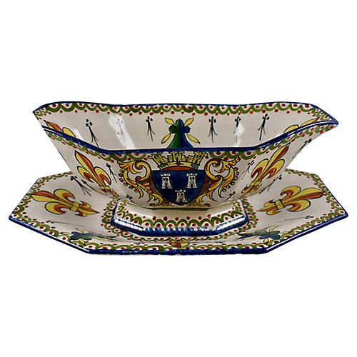 19th-C. Armorial Faïence Sauce Boat