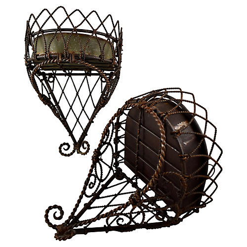 19th-C. French Wire Hanging Planter