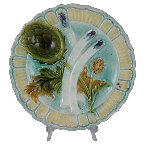 French Majolica & Asparagus Plate