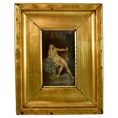 19th-C French Oil Painting, Nude Venus