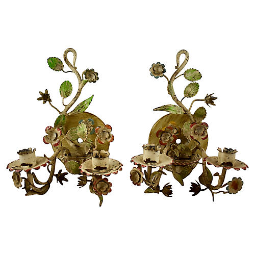 French Tole Sconces, S/2