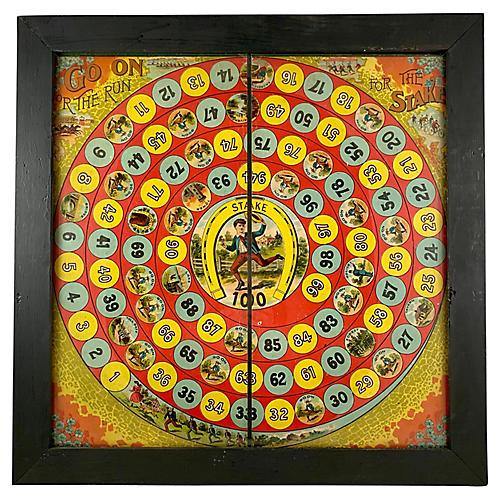 1884 Horse Race Framed Litho Board Game