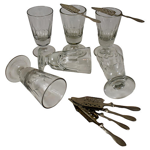 French Absinthe Glasses & Spoons, S/12