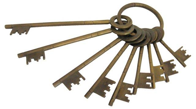 Brass Keys on Ring, Set of 9