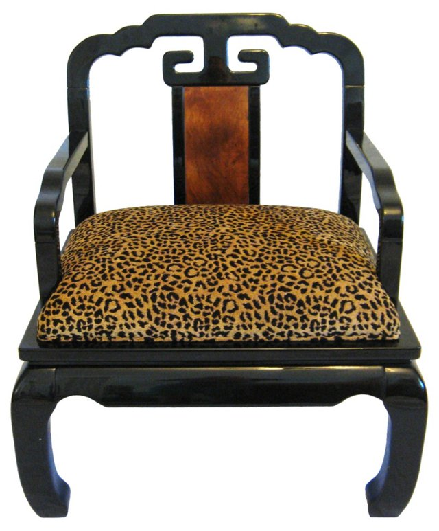 Asian-Style Lacquer & Leopard Chair