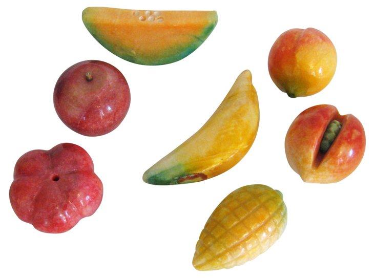 Marble Carved Fruit, Set of 7