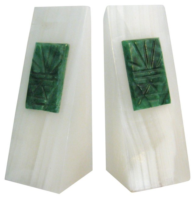 White Onyx & Jade Bookends