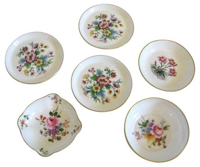 Porcelain Floral Trays, S/6