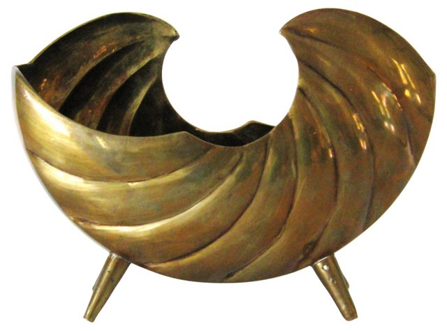 Brass Footed Shell Vessel