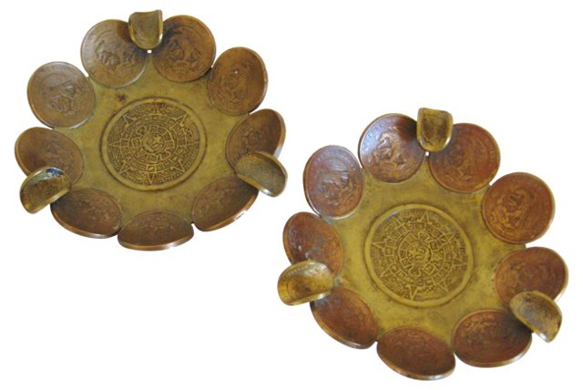 Mexican Coin Trays, Pair