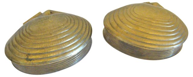 Brass Lidded Clamshell Boxes, Pair