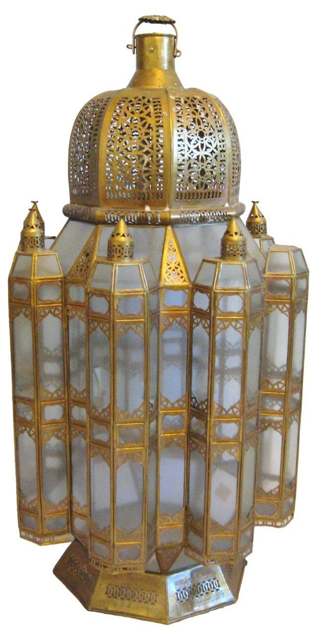 Pierced Brass Moroccan Chandelier
