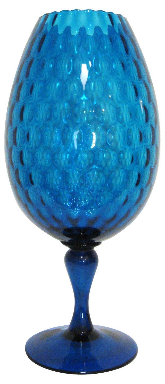 Peacock Blue Glass Vase