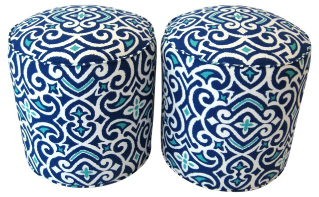 Batik-Print Ottomans, Pair