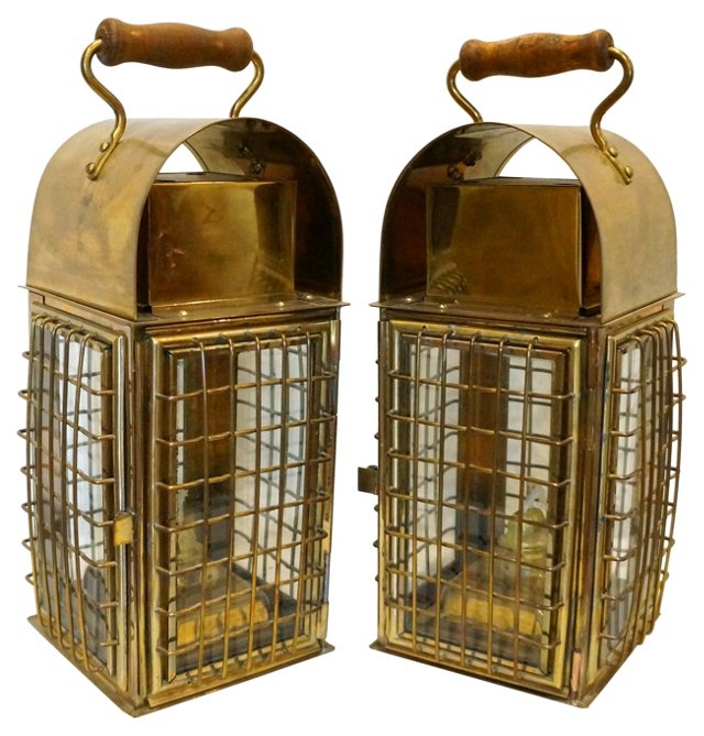 Brass Nautical Lanterns, Pair