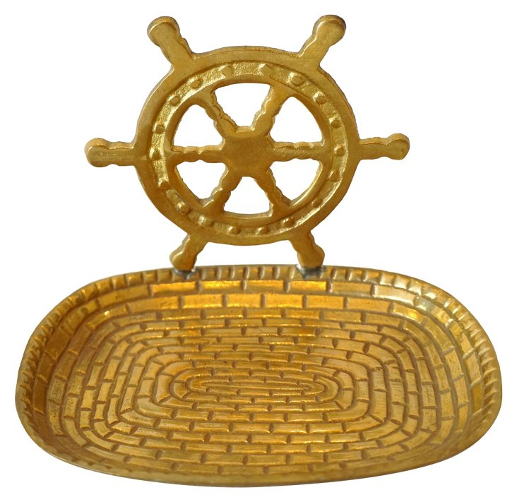 Brass Ship's Wheel Tray