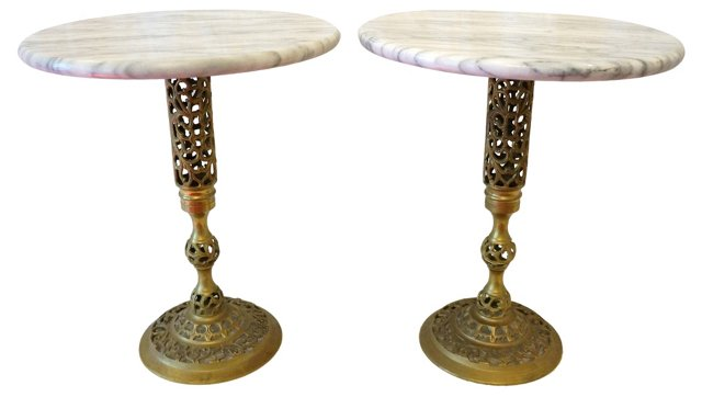Marble & Brass Tables, Pair