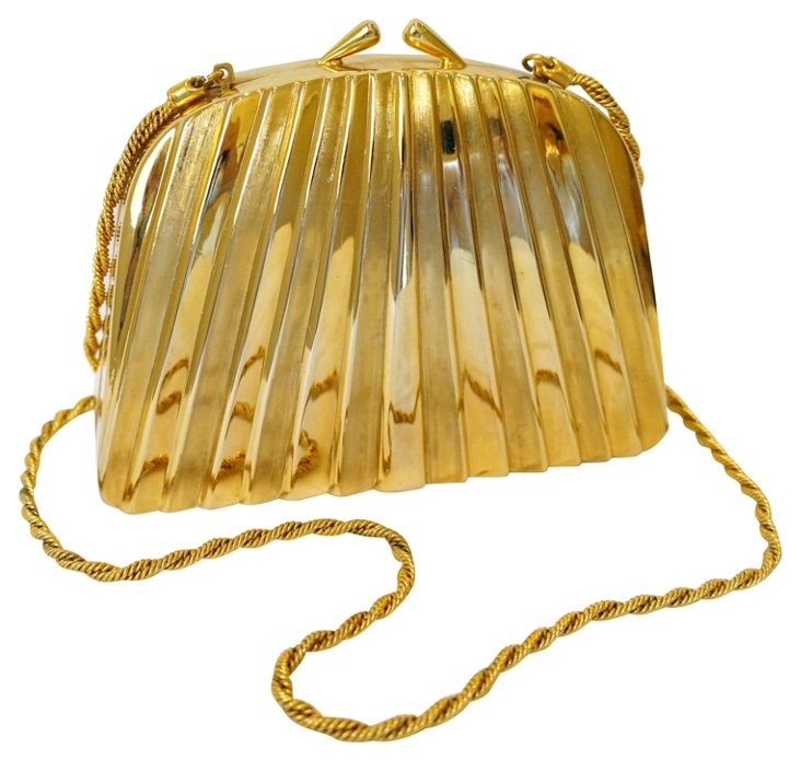 Art Deco-Style Goldtone Metal Bag