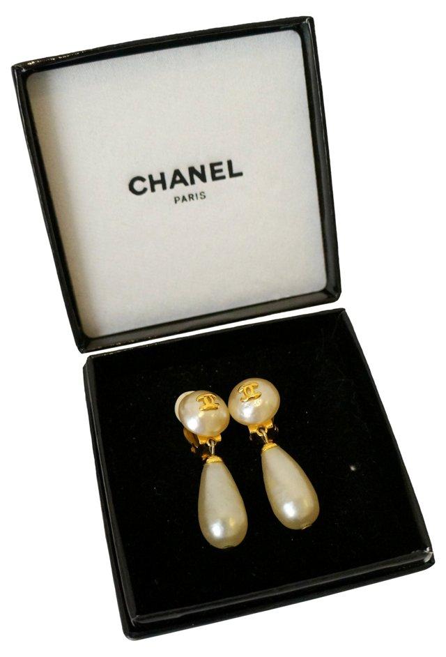 Chanel Faux-Pearl Drop Earrings