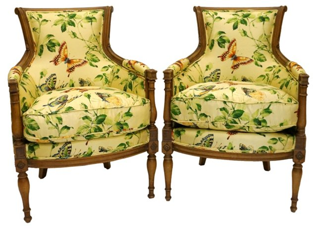 Butterfly-Print  Chairs, Pair