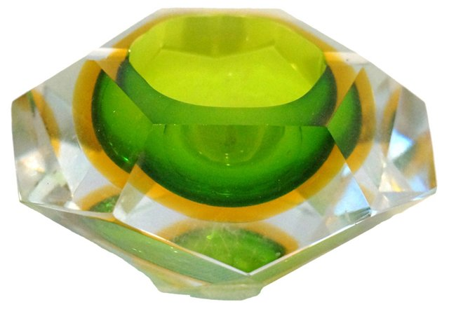 Murano Sommerso Faceted Ashtray