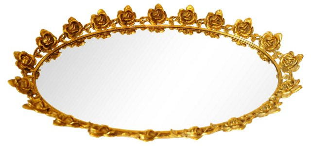 Mirrored Tray w/ Gold Roses