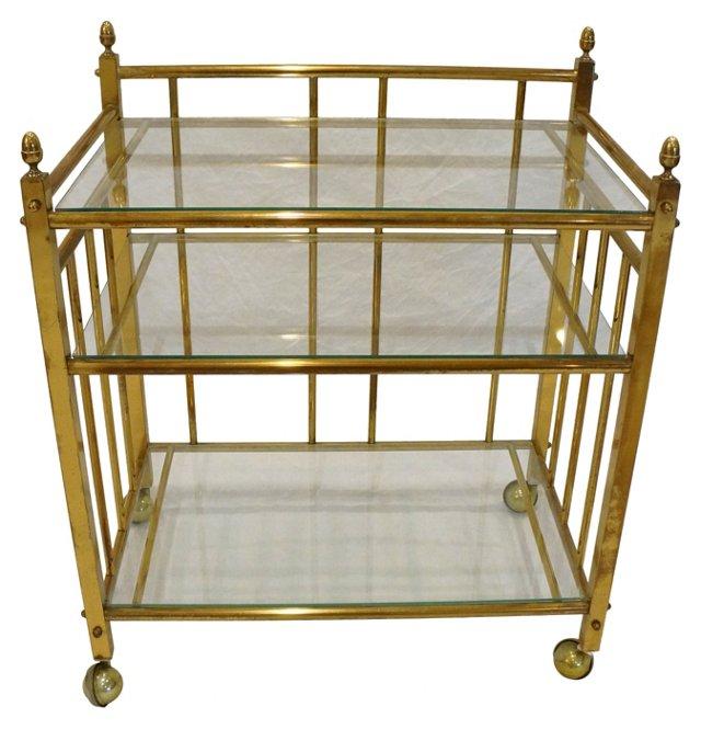 3-Tier Brass Bar Cart
