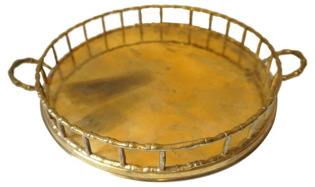 Round Faux-Bamboo Brass Tray