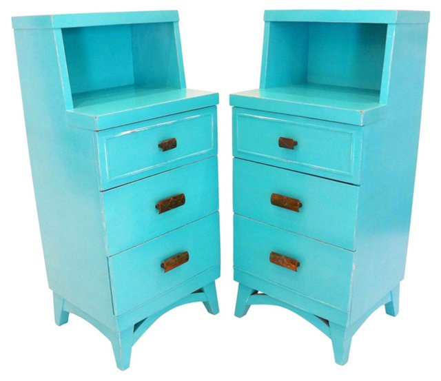 Turquoise Side Tables, Pair