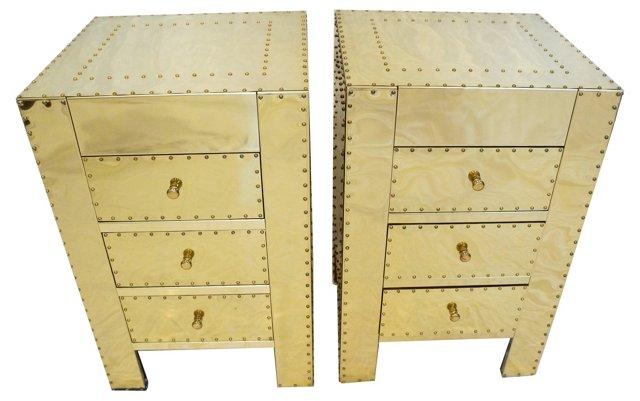 Sarreid Brass Side Tables, Pair
