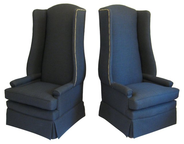 Tall Wingback Armchairs, Pair