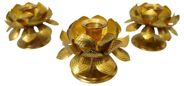 Brass Lotus Candleholders, S/3